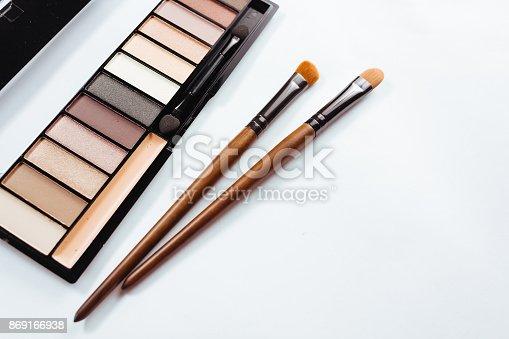 istock Eye shadow with brush on white background 869166938
