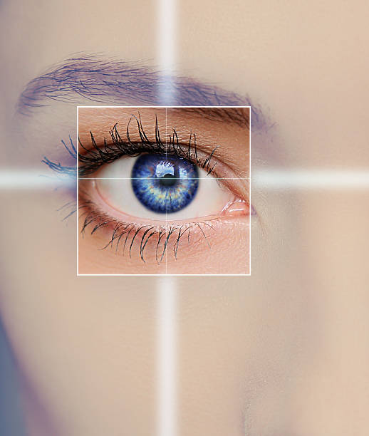 Eye technology, medicine and vision concept. stock photo