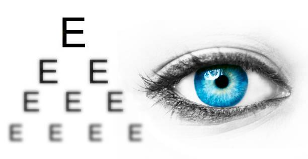 eye test chart and blue human eye - illustration optician stock-fotos und bilder