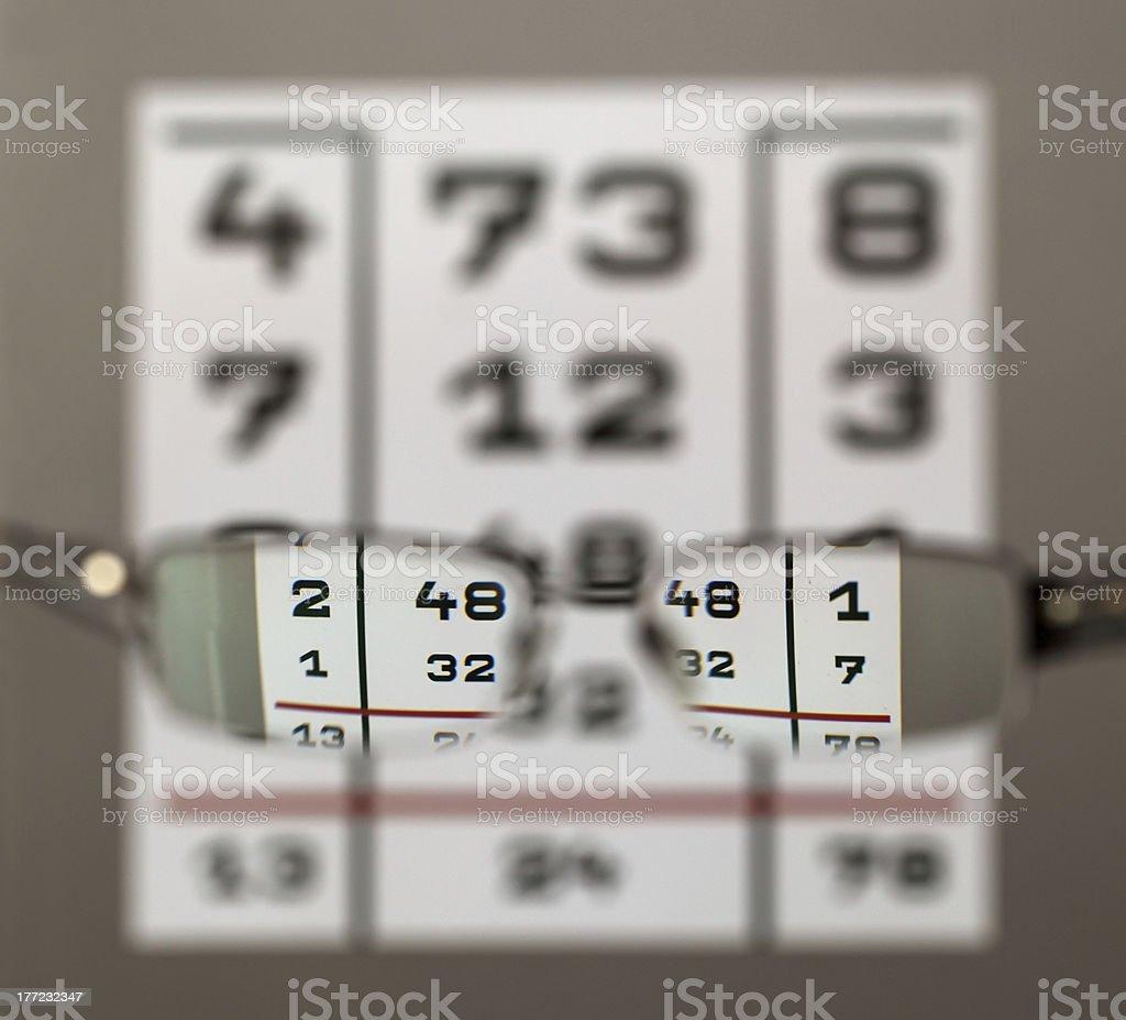 Eye Test Chart With Eyeglasses Stock Photo - Download Image