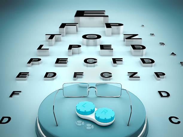 eye test - illustration optician stock-fotos und bilder
