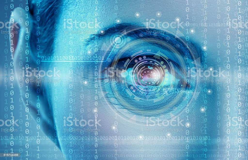 Eye viewing digital information stock photo