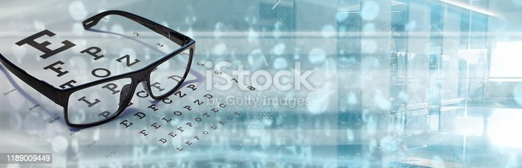 Eye vision test with sight chart technology - optometrist concept