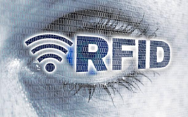RFID-Auge mit Matrix schaut Betrachter Konzept – Foto