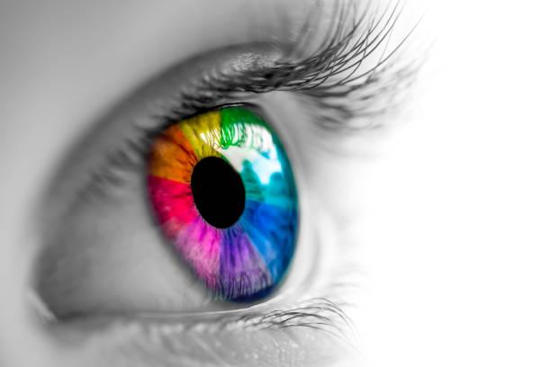 eye with rainbow colors - soczewka gałka oczna zdjęcia i obrazy z banku zdjęć