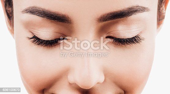 Eye woman eyebrow eyes lashes. Close up view. Isolated on white.