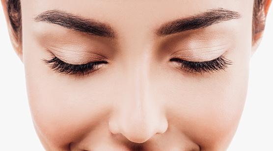 눈 여자 눈썹 눈 색깔과 눈꺼풀 갈색 머리에 대한 스톡 사진 및 기타 이미지
