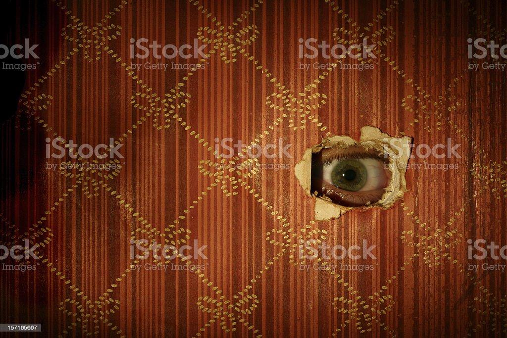 Eyeball Looking through Wall royalty-free stock photo