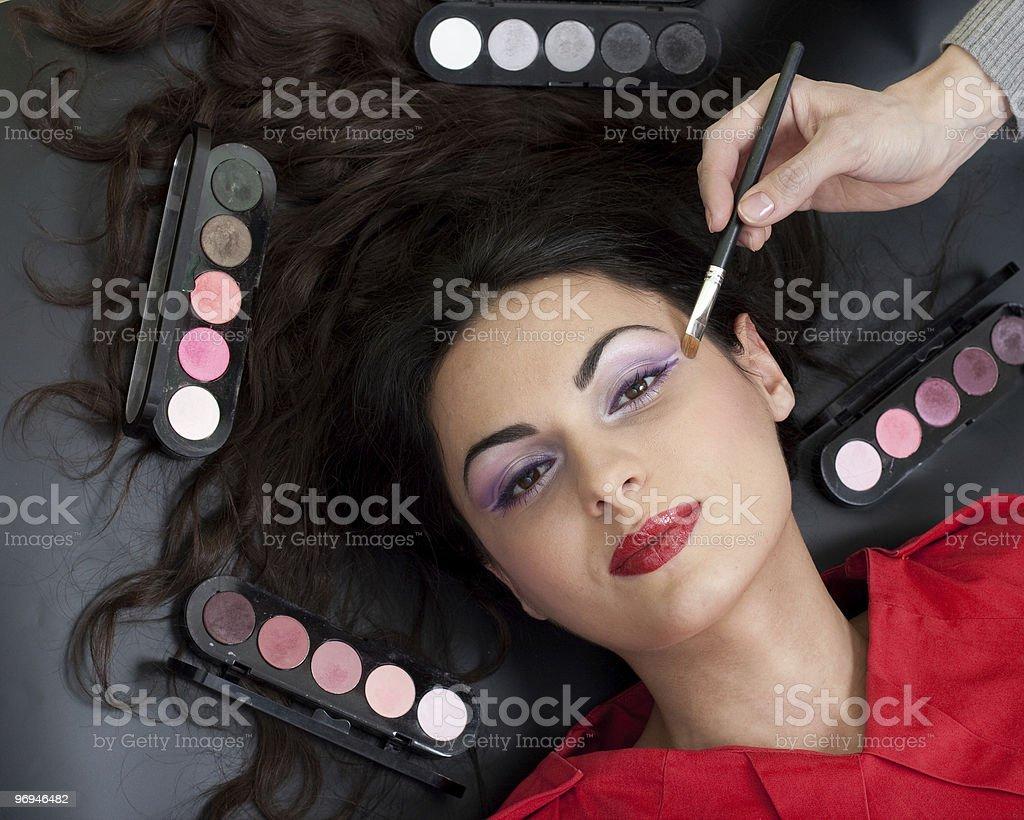 Eyebrow makeup routine royalty-free stock photo