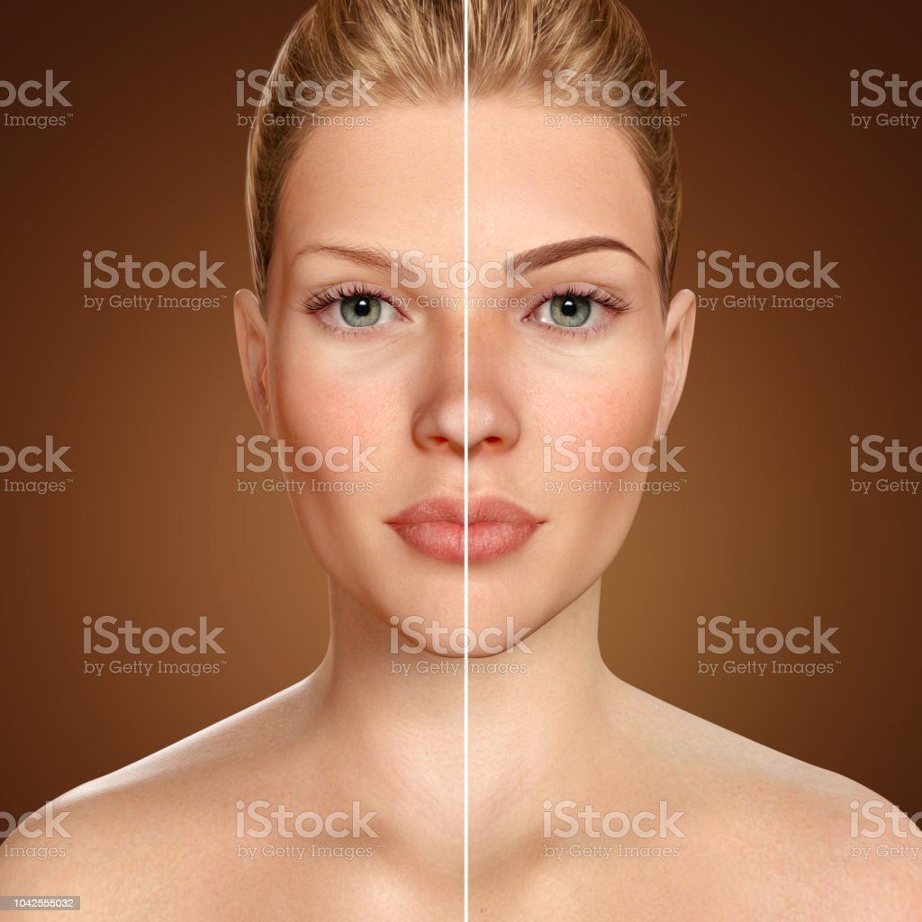 Eyebrow microblading comparison 3d face before and after stock photo