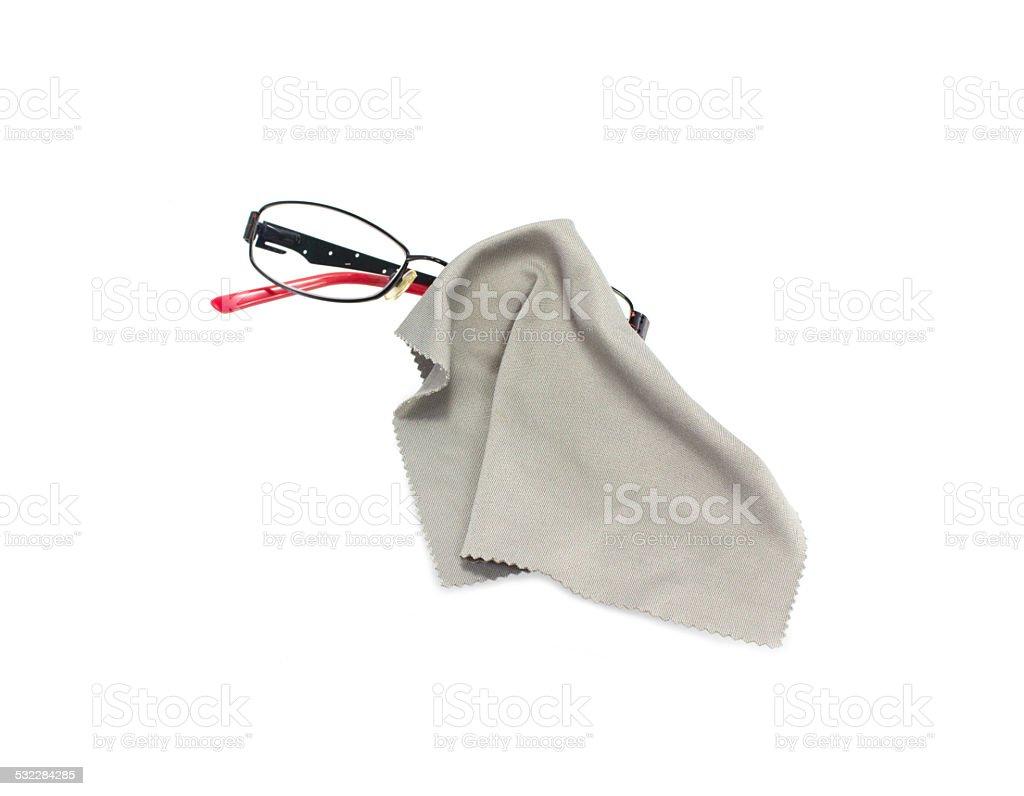 Die Brille der Tücher, Reinigung Brille isoliert auf weißem Hintergrund – Foto