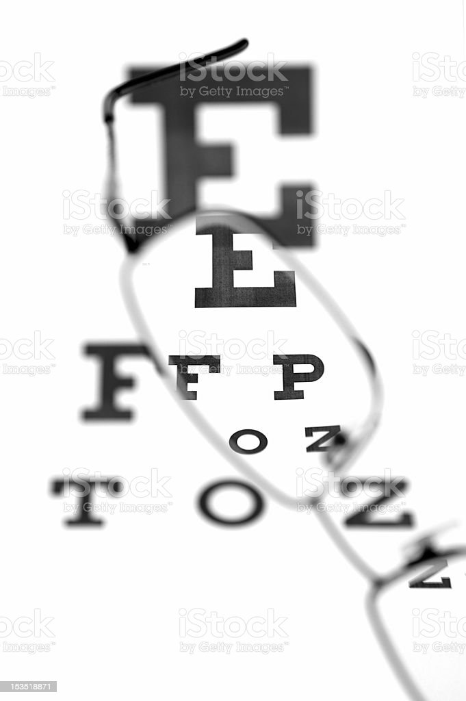 Eyeglasses and eye test chart royalty-free stock photo