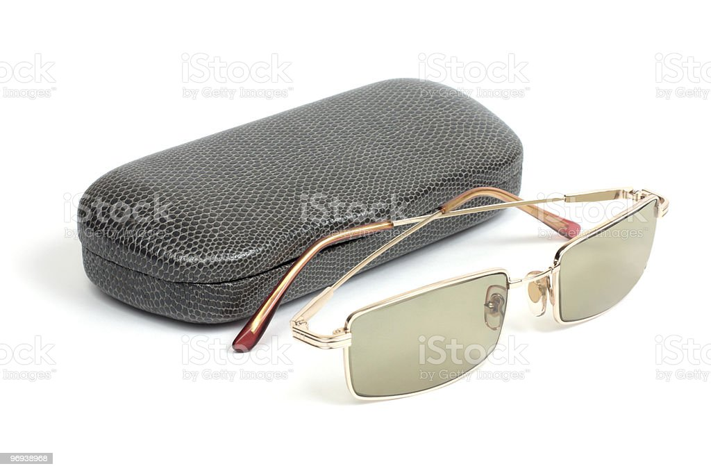 Eyeglasses and gray case royalty-free stock photo