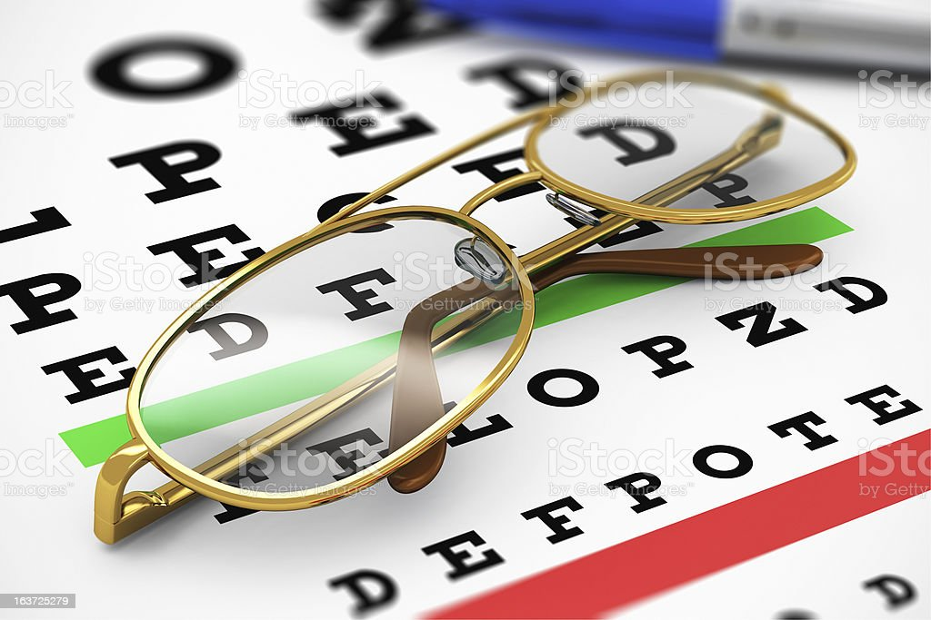 Eyeglasses and Snellen vision test royalty-free stock photo
