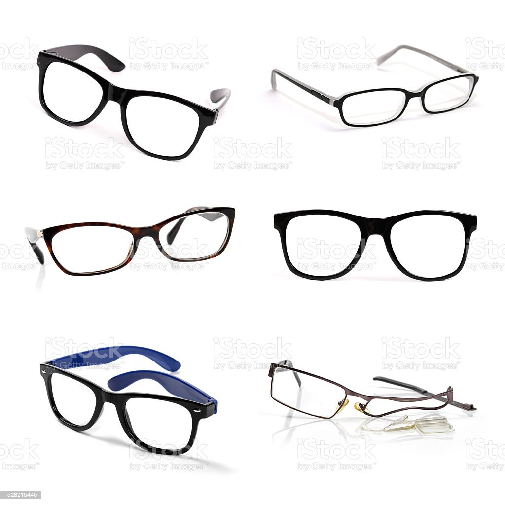 eyeglasses collection isolated on white stock photo