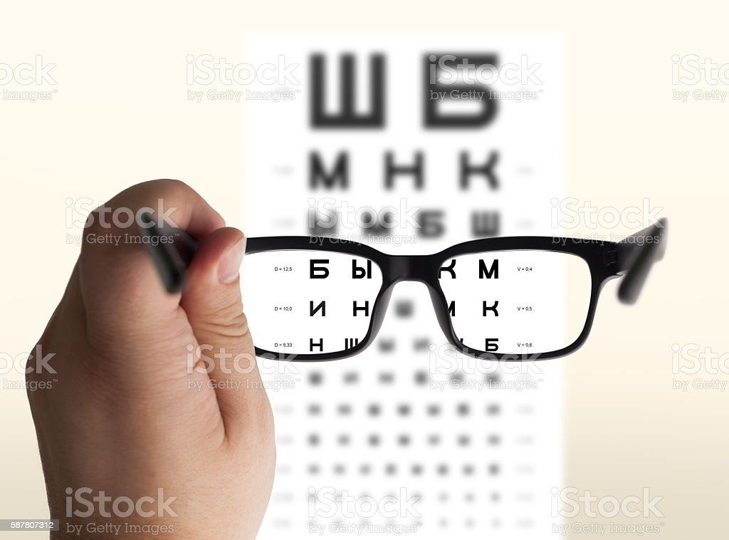 Eyeglasses in hand for eyesight stock photo