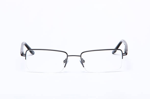 eyeglasses isolated on white background - sale lenses stock photos and pictures