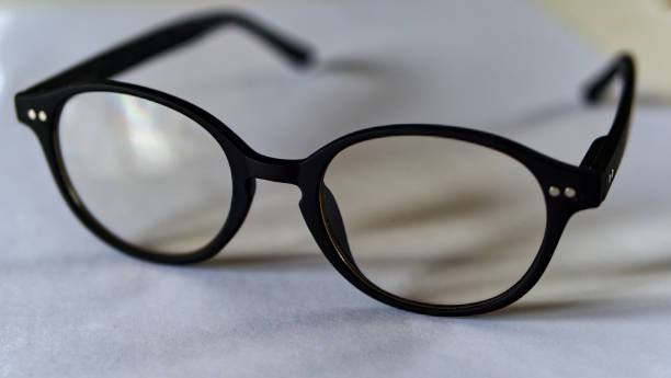 Eyeglasses, not new, black rimmed, clear glasses stock photo
