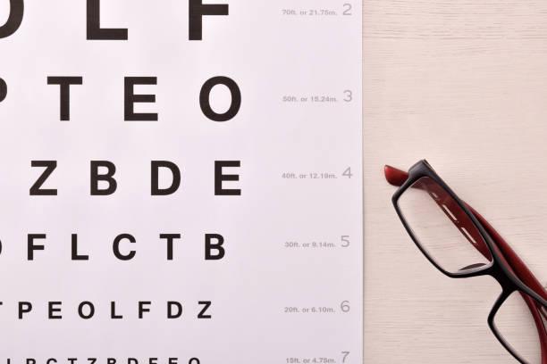 Ver gafas en la parte superior de letra de alfabeto - foto de stock