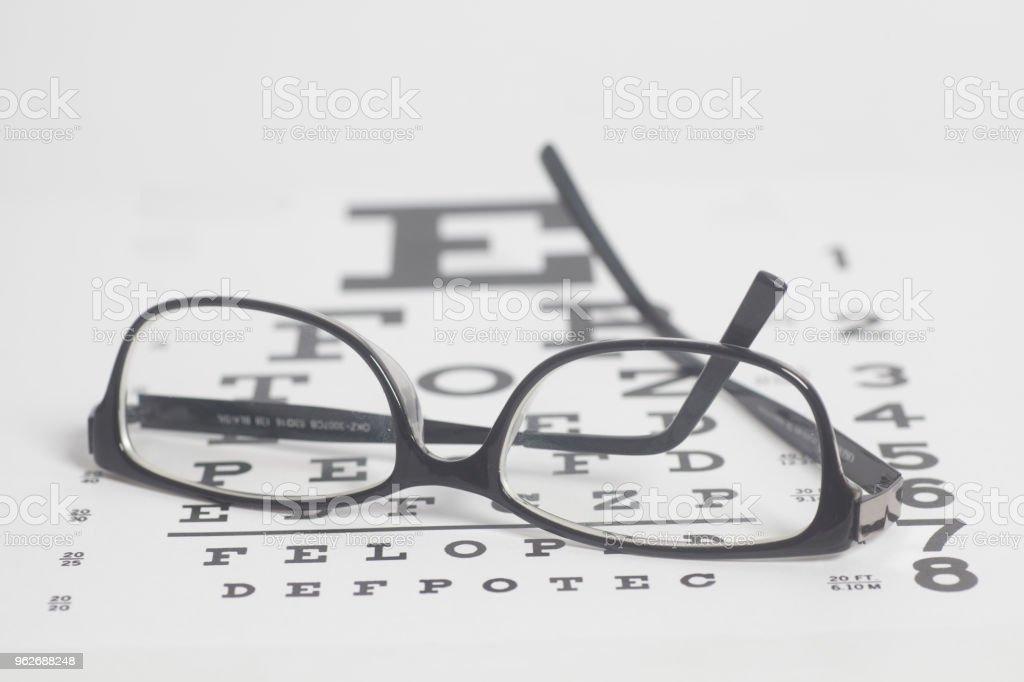 Eyeglasses On Eyesight Test Chart Background Stock Photo More