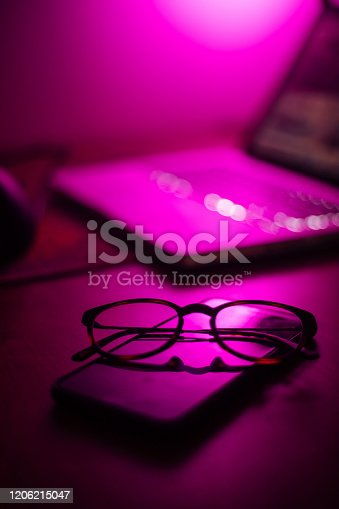 Eyeglasses on Phone gaming concept