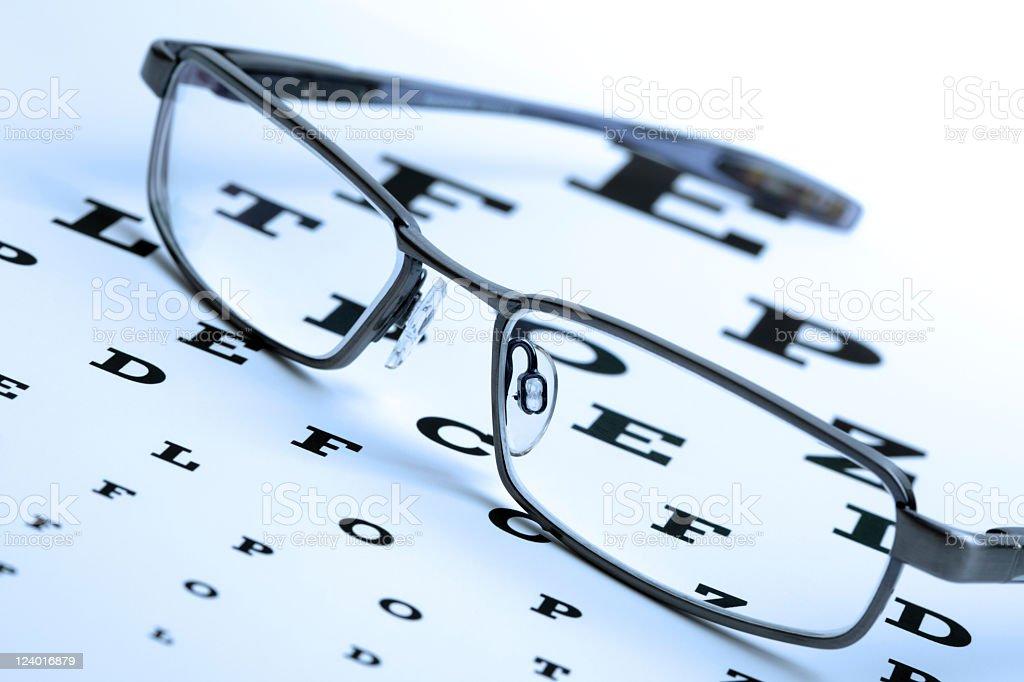 Eyeglasses on top of eye chart stock photo