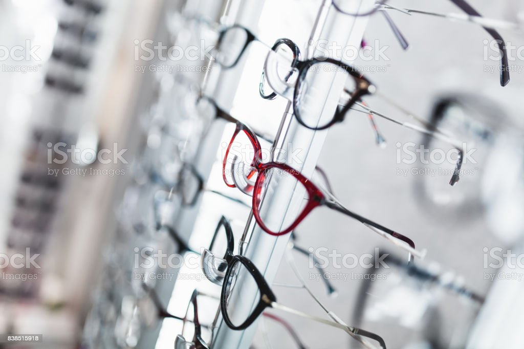 Eyeglasses store stock photo