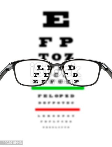 Front view of a black frame eyeglasses with an eye chart test at the background. The eye chart test is on focus only looking through the eyeglasses. Low key DSLR photo taken with Canon EOS 6D Mark II and Canon EF 24-105 mm f/4L