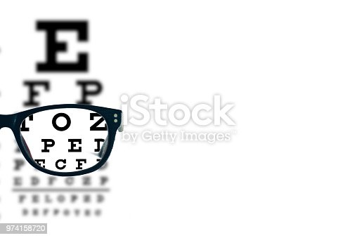 Eyeglasses with blurred optician visual text chart on a white background.