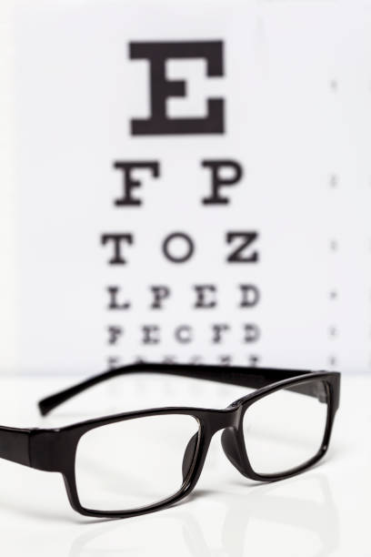 Eyeglasses with eye chart in the back stock photo