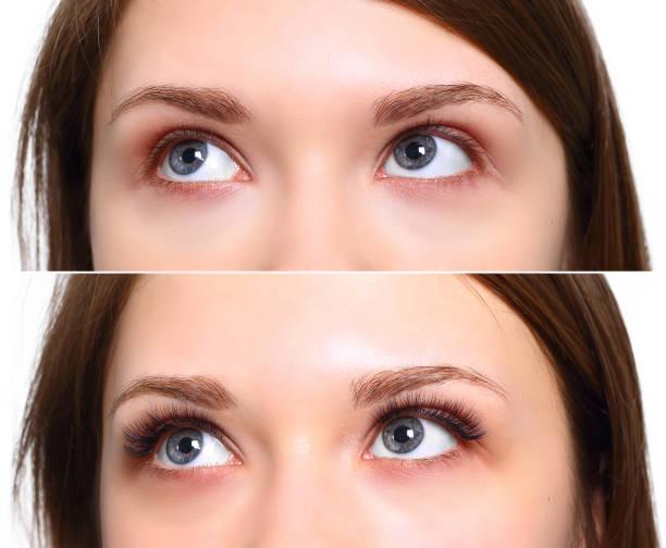Eyelash Extension. Comparison of female eyes before and after Comparison of female eyes before and after eyelash extension false eyelash stock pictures, royalty-free photos & images