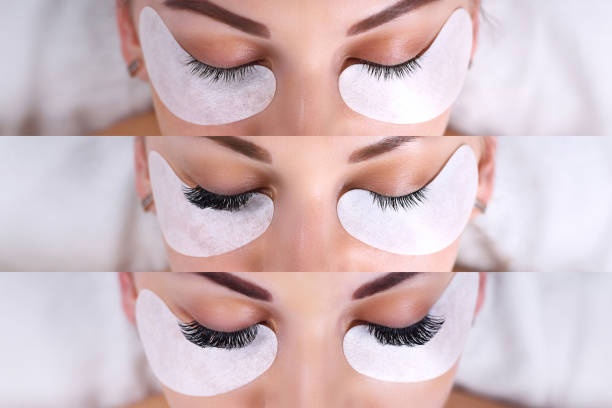 Eyelash Extension Procedure. Comparison of female eyes before and after Comparison of female eyes before and after eyelash extension false eyelash stock pictures, royalty-free photos & images