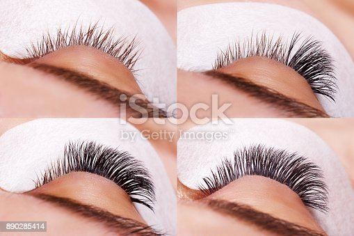 istock Eyelash Extension Procedure. Comparison of female eyes before and after 890285414