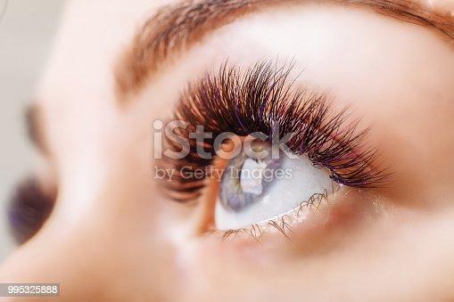 istock Eyelash Extension Procedure. Woman Eye with Long Eyelashes. Close up, selective focus 995325888