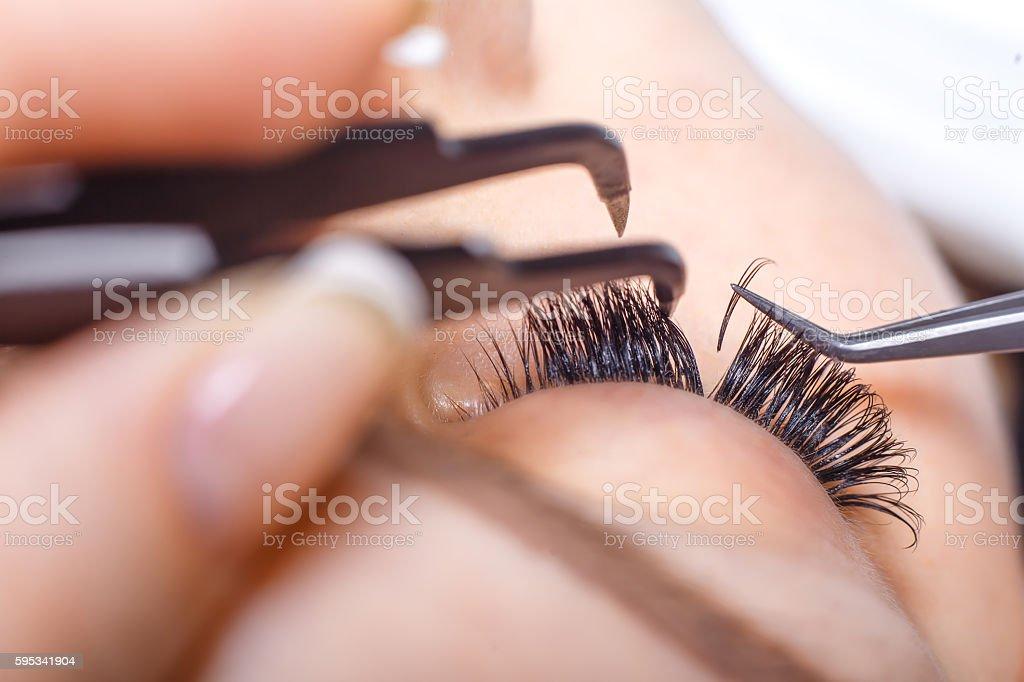 eyelash extension procedure woman eye with long eyelashes lashes
