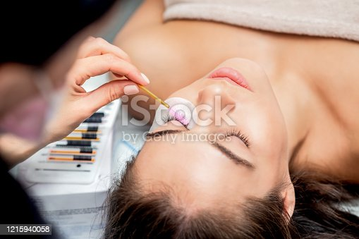 istock Eyelash extension with brush. 1215940058