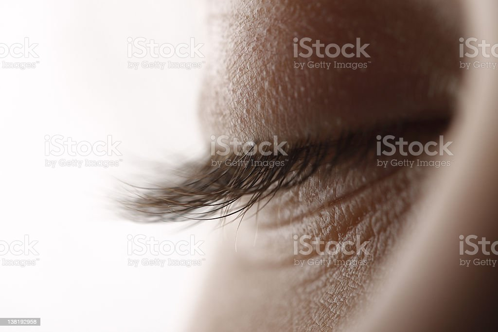 Eyelashes with closed eye stock photo