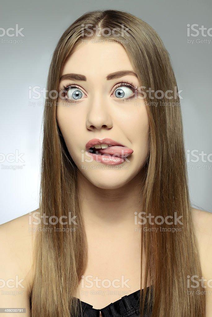 eyes crossed stock photo