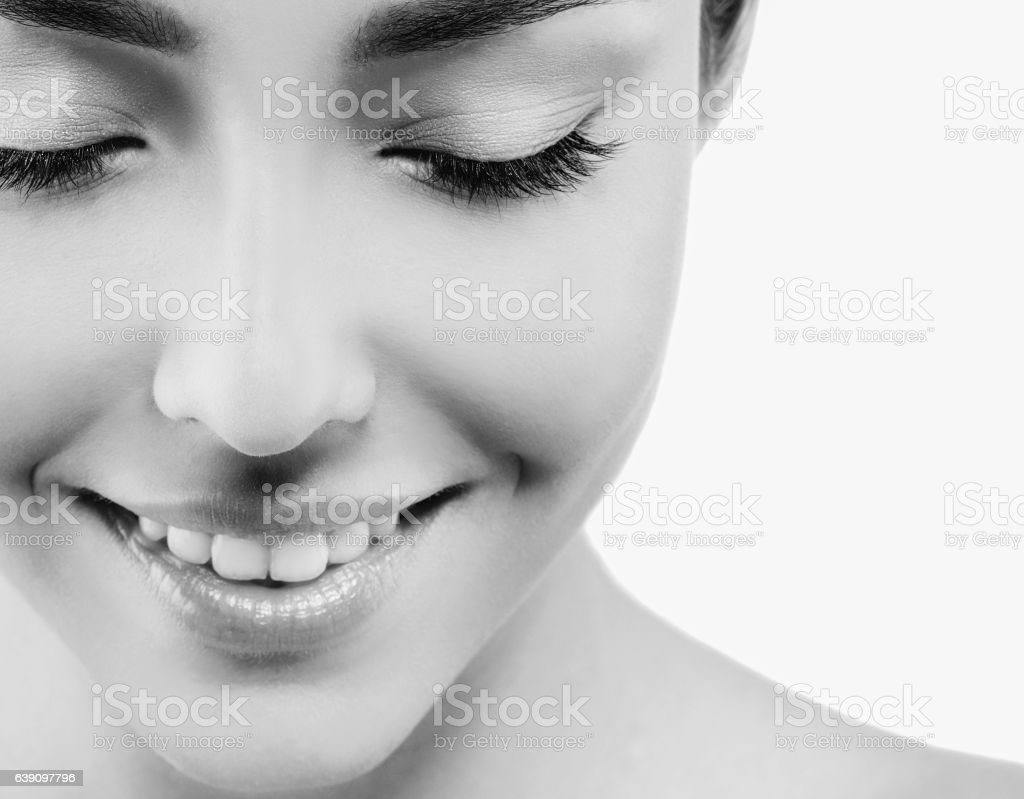 Eyes lashes closeup closed Beautiful woman face stock photo