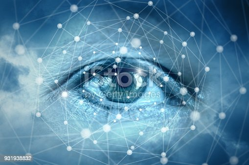 510584002istockphoto Eyes looking at network connections. 931938832