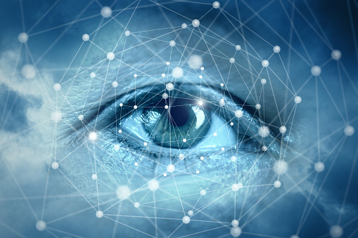 510584002 istock photo Eyes looking at network connections. 931938832