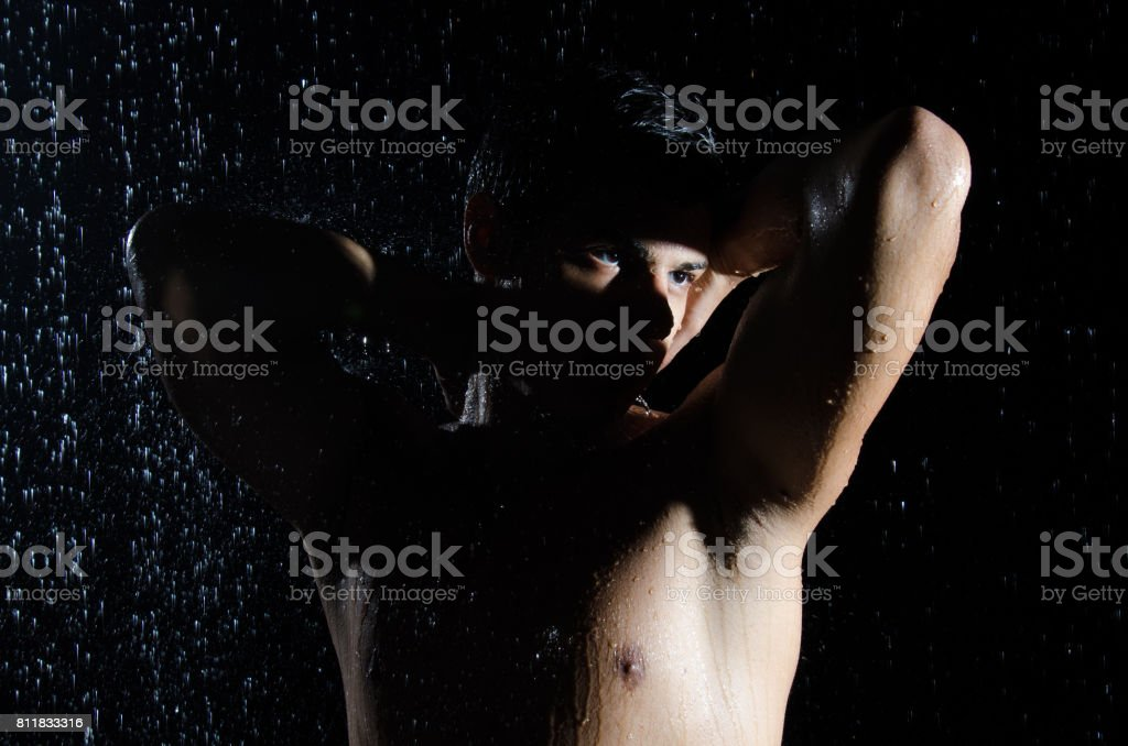 Eyes. Night. An attractive guy. stock photo