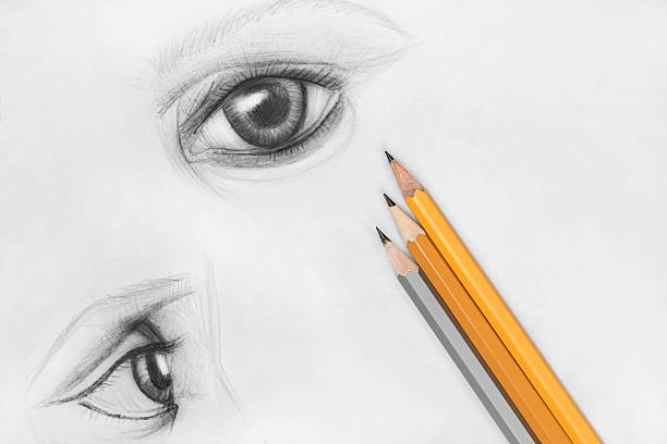 eyes of emilia - pencil drawing stock pictures, royalty-free photos & images