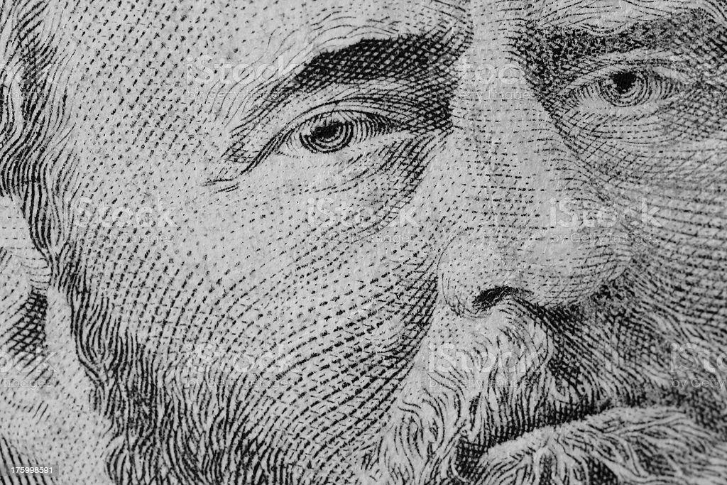 Eyes of Grant - $50 Bill royalty-free stock photo
