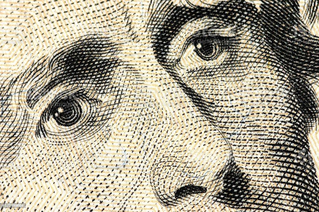 Eyes of Jackson - $20 bill stock photo