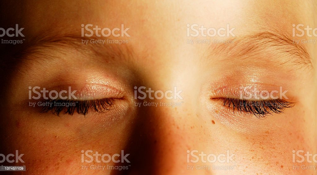 Eyes shut stock photo