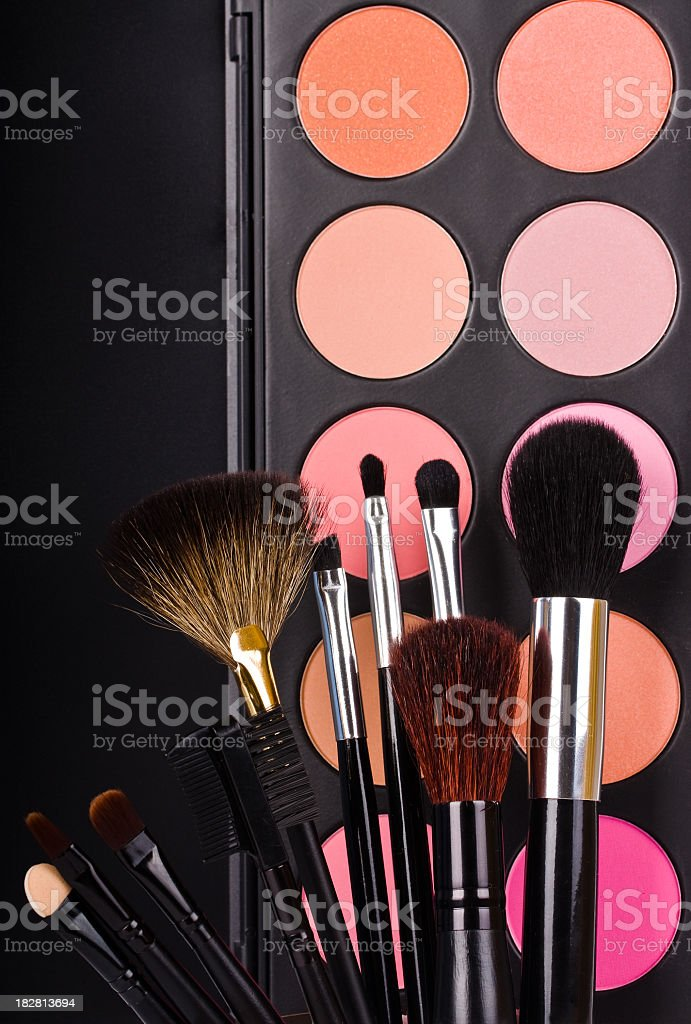 Eyeshadow make up and make up brushes royalty-free stock photo