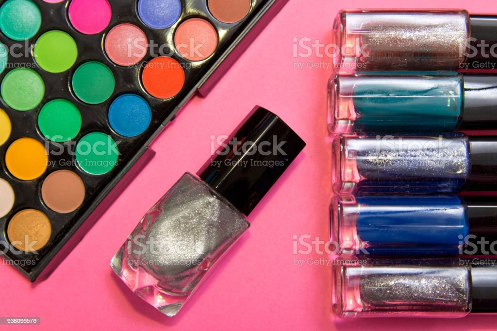 Eyeshadow Palette And Nail Polish In Pink And Silver Geometric ...