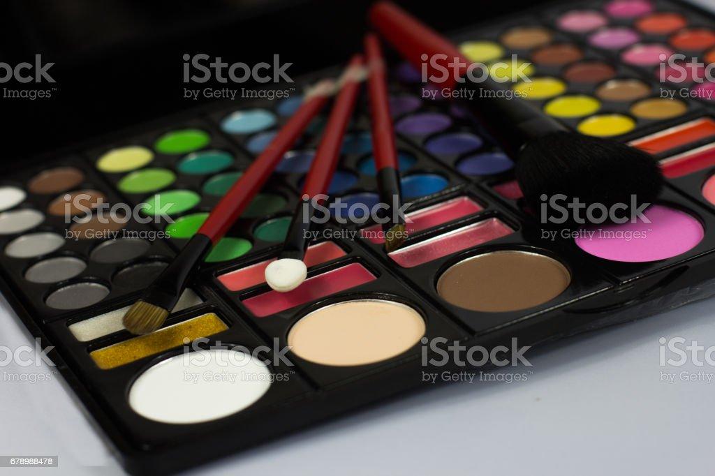 Eyeshadow Palette. Decorative cosmetics. Makeup brushes. royalty-free stock photo