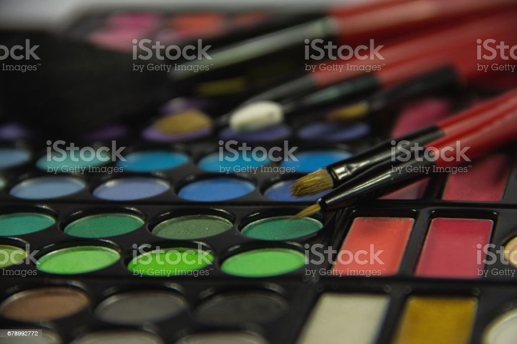 Eyeshadow Palette. Decorative cosmetics. Makeup brushes. royalty-free stock photo